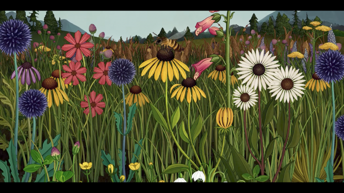 Still-frame-from-Azuma-Makoto-Story-of-Flowers-showing-a-field-of-wildflowers-being-pollinated-by-bees-680x383
